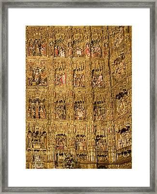 Right Half - The Golden Retablo Mayor - Cathedral Of Seville - Seville Spain Framed Print