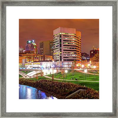 Right Panel 3 Of 3 - Columbus Ohio Skyline At Night Framed Print by Gregory Ballos