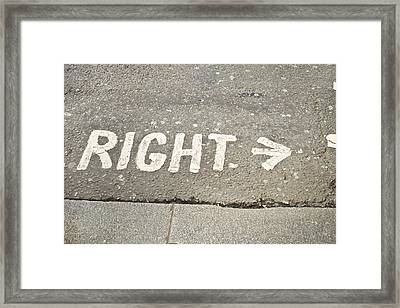 Right Sign Framed Print by Tom Gowanlock