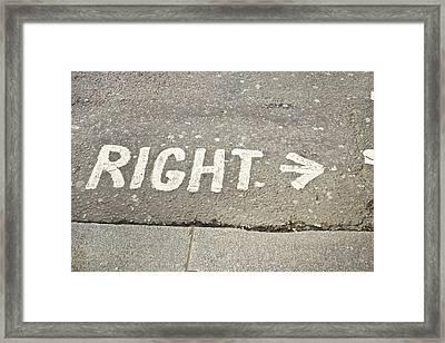 Right Sign Framed Print