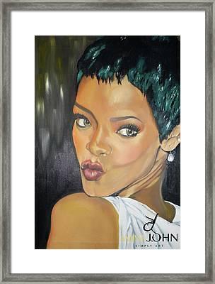 Rihanna Kiss Framed Print by Zalika Ledeatte- Williams