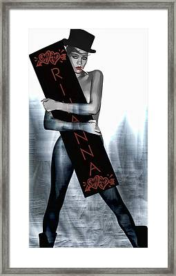 Rihanna Love Card By Gbs Framed Print by Anibal Diaz