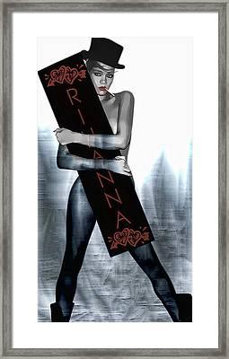Rihanna Love Card By Gbs Framed Print by Anibal Diaz