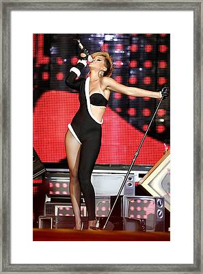 Rihanna On Stage For Pepsi Fan Jam Framed Print by Everett