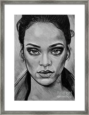 Rihanna Portrait Framed Print