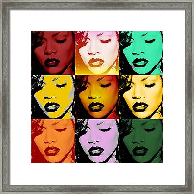 Rihanna Warhol By Gbs Framed Print by Anibal Diaz