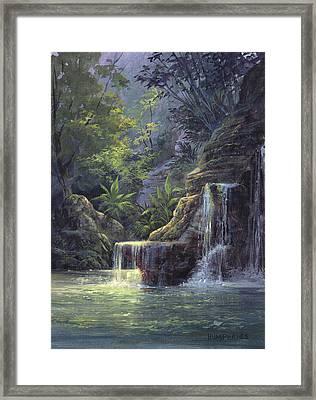 Rim Lit Falls Framed Print