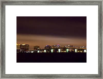 Ringling Bridge And Sarasota Framed Print by Nicholas Evans