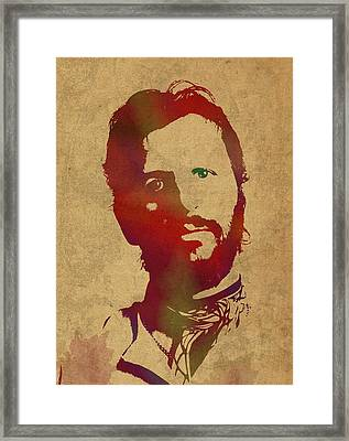 Ringo Starr Beatles Watercolor Portrait Framed Print by Design Turnpike