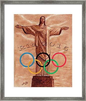 Rio 2016 Christ The Redeemer Statue Artwork Framed Print by Georgeta Blanaru