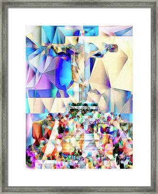 Framed Print featuring the photograph Rio Christ The Redeemer In Abstract Cubism 20170327 by Wingsdomain Art and Photography