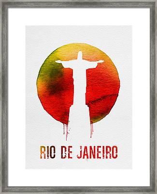 Rio De Janeiro Landmark Red Framed Print