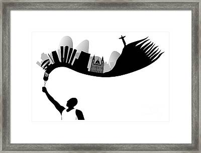 Rio De Janeiro Looks Like Flames From Torch Framed Print
