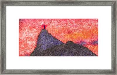 Rio De Janeiro Red Sunset - Da Framed Print