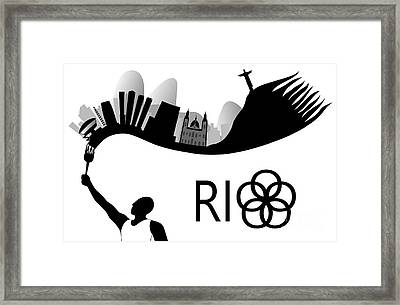 Rio De Janeiro Skyline Looks Like Torch Flames Framed Print
