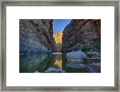 Framed Print featuring the tapestry - textile Rio Grand - Big Bend by Kathy Adams Clark