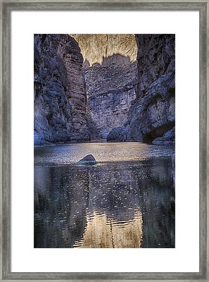 Framed Print featuring the tapestry - textile Rio Grand, Santa Elena Canyon Texas by Kathy Adams Clark
