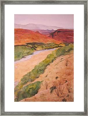 Rio Grande River Valley Framed Print by Myrna Salaun