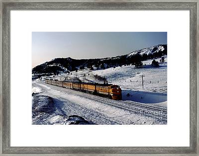 Rio Grande Zephyr Trainset In The Snow, Plainview Colorado, 1983 Framed Print