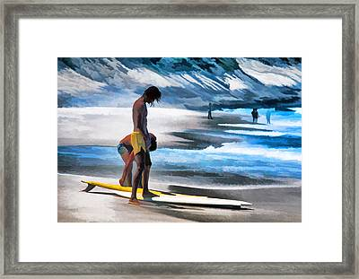 Rio Surfers Framed Print by Dennis Cox