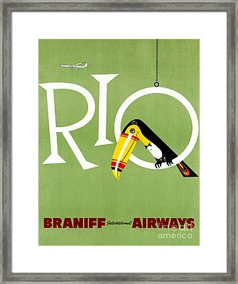 Rio Vintage Travel Poster Restored Framed Print