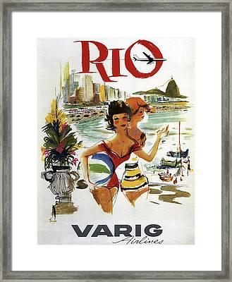 Rio Vintage Travel Varig Airlines C. 1960 Framed Print by Daniel Hagerman