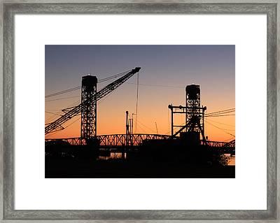 Rio Vista Bridge And Barges Framed Print by Troy Montemayor