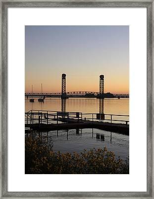 Rio Vista Bridge And Sail Boats Framed Print
