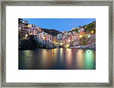 Riomaggiore After Sunset Framed Print by Sebastian Wasek