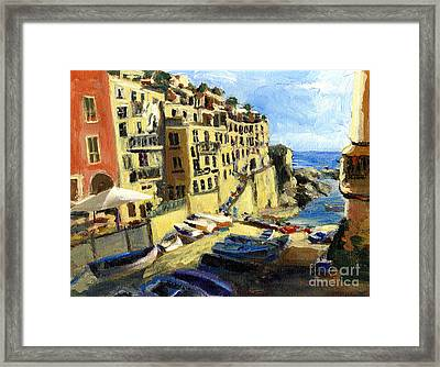 Riomaggiore Italy Late Afternoon Framed Print by Randy Sprout
