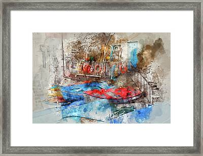 Riomaggiore Italy Digital Watercolor On Photograph Framed Print by Brandon Bourdages