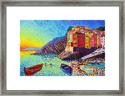 Riomaggiore Sunset - Cinque Terre Italy - Palette Knife Oil Painting By Ana Maria Edulescu Framed Print