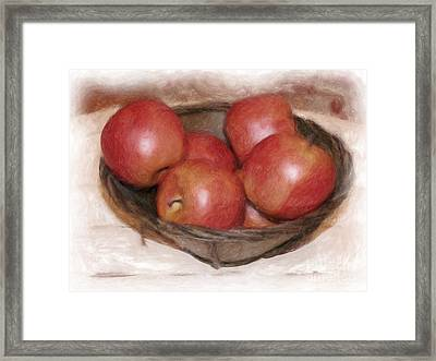 Ripe Red Apples Framed Print by Susan  Lipschutz
