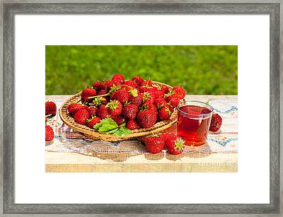 Ripe Strawberries In Basket And Juice In Glass  Framed Print by Arletta Cwalina