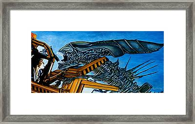 Framed Print featuring the painting Ripley Vs Queen Up Close And Personal by Al  Molina