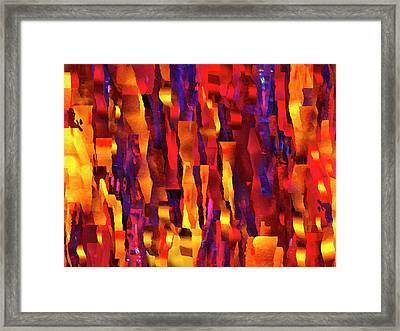 Ripped Pieces On Fire - Abstract Expressionist Digital Painting Framed Print
