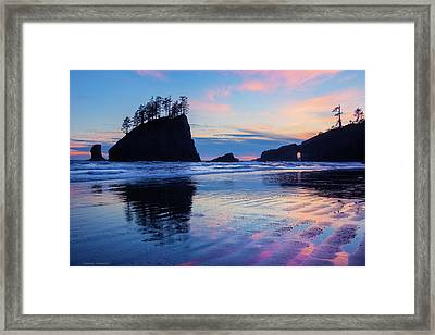 Framed Print featuring the photograph Ripple Reflections Of Dusk At Second Beach by Expressive Landscapes Fine Art Photography by Thom