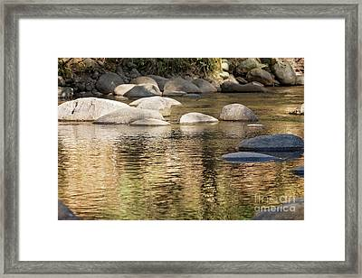 Framed Print featuring the photograph Ripples And Rocks by Linda Lees