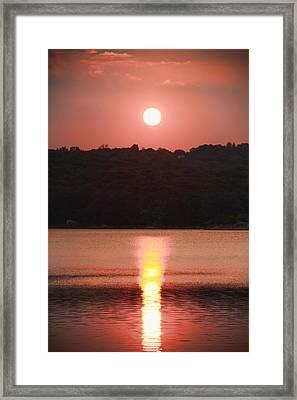 Ripples Of Sunset Framed Print by Daphne Sampson