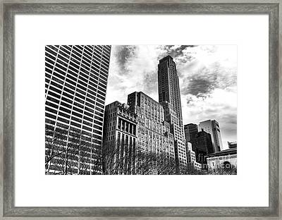Rising In Manhattan Mono Framed Print by John Rizzuto