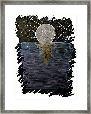Framed Print featuring the drawing Rising Moon by Bee-Bee Deigner