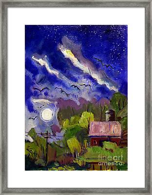 Rising Moon On Walnut Ridge Framed Print by Charlie Spear