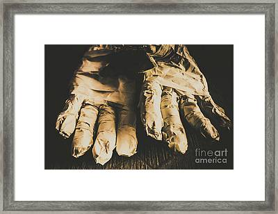 Rising Mummy Hands In Bandage Framed Print by Jorgo Photography - Wall Art Gallery