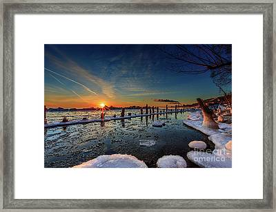 Rising On The Icy Blue Framed Print