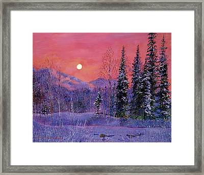 Rising Snow Moon Framed Print by David Lloyd Glover
