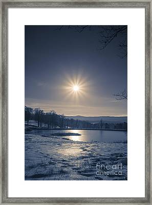 Rising Sun On A Cold Winter Morning Framed Print by Edward Fielding