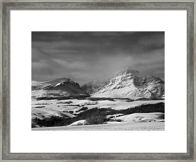 Rising Wolf Mountain- Winter - Black And White Framed Print