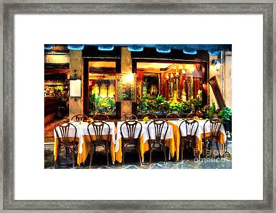 Ristorante In Venice # 2 Framed Print by Mel Steinhauer