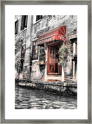 Ristorante On The Canals Framed Print by Greg Sharpe