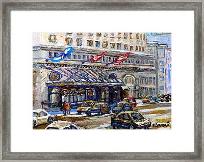 Ritz Carlton Paintings Montreal Memories 3 Flags Rue Sherbrooke Best Canadian Original Art For Sale  Framed Print